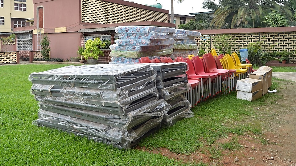 donations of furniture and air conditioners to the Pacelli School for the Blind and Partially Sighted