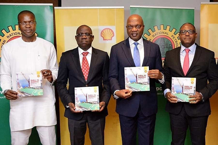 L-R: General Manager External Relations of Shell Petroleum Development Company (SPDC), Mr. Igo WelI; Managing Director, Shell Nigeria Exploration and Production Company (SNEPCo), Engineer Bayo Ojulari; Managing Director, The Shell Petroleum Development Companies of Nigeria Limited and Country Chair, Shell Companies in Nigeria, Osagie Okunbor; Managing Director and Shell Nigeria Gas, Mr. Ed Ubong at the Launching of the 2019 Shell Nigeria Briefing Notes.