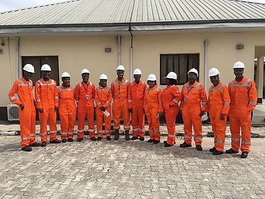 A cross-section of some of the Shell Nigeria Sabbatical and Research Internship participants duringa visit to a Shell Petroleum Development Company Joint Venture flow-station in Port Harcourt, Rivers State as part of their induction programme.