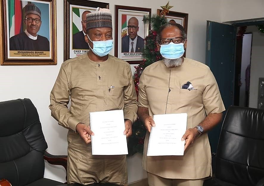 Managing Director, Shell Nigeria Gas, Ed Ubong (right) and the Managing Director, Nigerian Gas Marketing Company, Faruk Usman, after signing a 20-year Gas Distribution Agreement in Abuja.