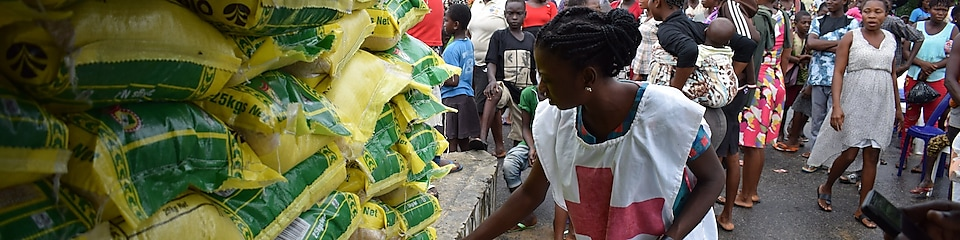 A red cross officer inspecting some donations to Niger Delta communities in Nigeria